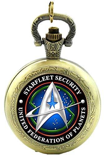 Star Trek Starfleet Sicherheit Quarz Taschenuhr Halskette–Antik Bronze Effekt–in Geschenkbox mit gratis Ersatz Batterie