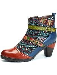 Socofy Bottes Femme, Bottines en Cuir A Talon Haut Boots Chaussures de  Ville Mustang Hiver 635258dc0615