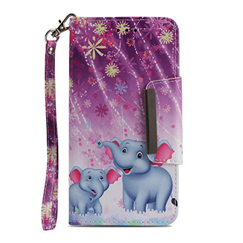 HereMore Funda LG K11 Elefantes, Funda Libro de Cuero con Correa de...