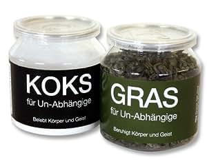 GRAS und KOKS für Un-Abhängige im 2-er Set - FUN Scherzartikel, Tee & Traubenzucker