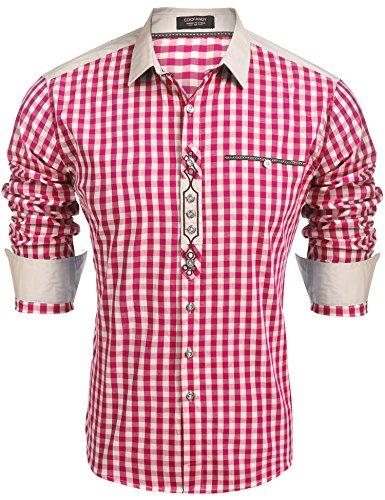 Burlady Trachtenhemd Herren Hemd Kariert Oktoberfest Cargohemd Baumwolle Freizeit Hemden Super Qualität- Gr. M, Rot