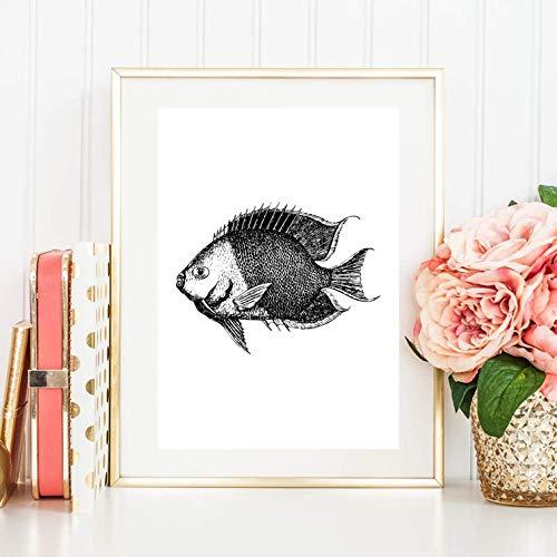 Din A4 Kunstdruck ungerahmt - Fisch Meerestier Maritim Retro Grafik schwarz, Deko, Geschenk Druck Poster Bild