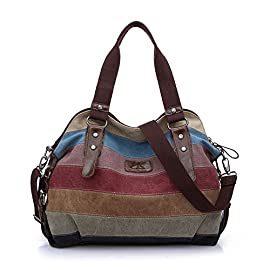 WAWJ Multi-color Buckle and Striped Large Hobo Bags Ladies Canvas Tote Travel Messenger Bag Shoulder Handbag