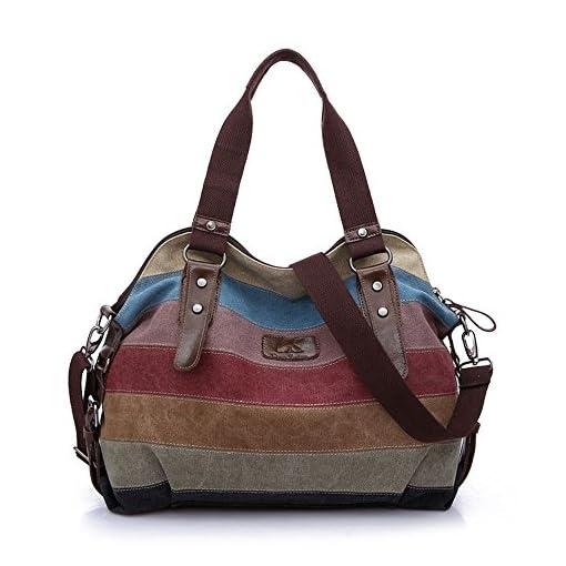 WAWJ Multi-color Buckle and Striped Large Hobo Bags Ladies Canvas Tote Travel Messenger Bag Shoulder Handbag