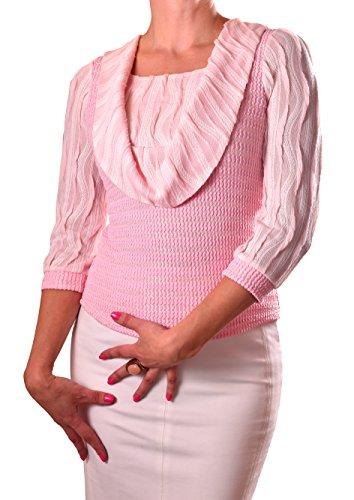 PoshTops DamenBluse mit Wasserfallkragen Dehnbares Strukturiertes Material Damenshirt 3/4 Ärmel Größen S – XXXL Abendkleidung Freizeitkleidung Plus Size Kleidung (Rosa, XXL / 46) (Seide Strickjacke Plus Size)