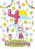 JuNa-Experten 12 Einladungskarten 4. Kindergeburtstag Mädchen Tiere vierte Geburtstag Geburtstagseinladungen Einladungen Geburtstagsparty Kartenset Hase