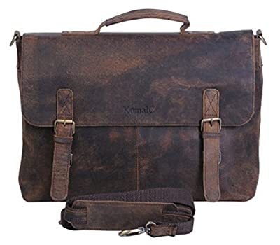 KomalC 38,1 cm Retro Buffalo Hunter Cuir Sacoche pour Ordinateur Portable Bureau Sacoche College Sac