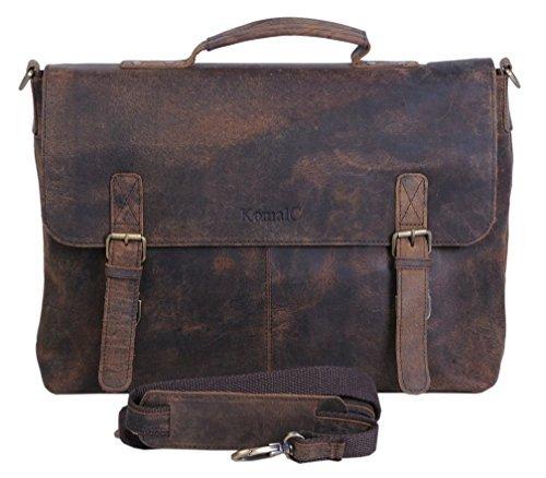 Komalc 38,1 cm Retro Buffalo Hunter Leder Laptop Messenger Bag Büro Aktentasche College Tasche (Gepolsterte Notebook-abschnitt)