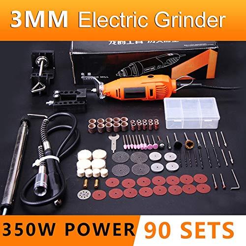 LKSDD Winkelschleifer, Mini Electric Winkelschleifer 400W Dremel Multi-Funktions-Winkelschleifer DIY kreativer Drill Grinder Kit,3mm90sets