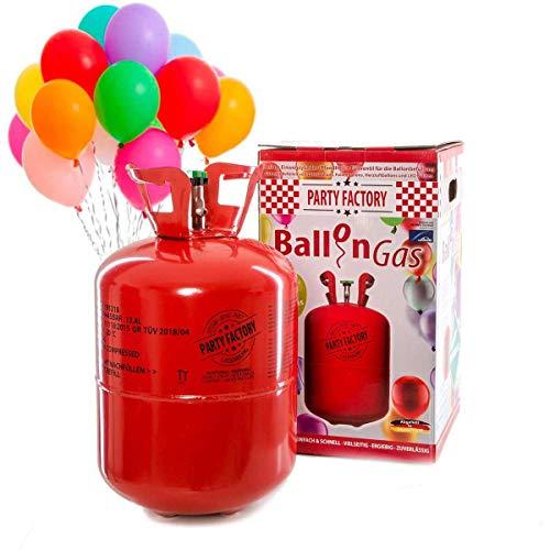 Party Factory Ladenburg Ballongas Helium Flasche für 50 Luftballons inkl. 50 Party Ballons -