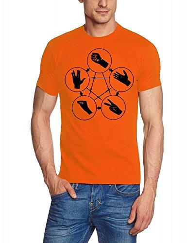 Coole-Fun-T-Shirts - T-shirt Big Bang Theory - Stein Schere Papier Echse Spock, T-shirt da uomo, arancione (orange), XL