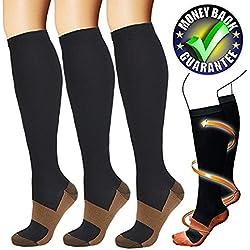 Calcetines de Compresión de Cobre (3 pares) Para Mujeres y Hombres (Negro, S/M)