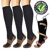 Calze a compressione in rame (3 paia) Per calzini sportivi di sostegno per compressione da uomo e da donna (Nero, L/XL)