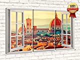 LaboratorioRadice Quadro su Tela Tipo Finestra su Panorama cm 65 x 110 (Dim.Pannelli cm.37x65-37x65-37x65) Design Moderno per Qualsiasi Ambiente. Firenze IYALY