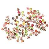 Baoblaze 50 Pcs Holz Knopf Knöpfe Kinderknöpfe Babyknöpfe Zum Nähen und Basteln Handwerk Dekoration Gemischte Form - Farbe 9