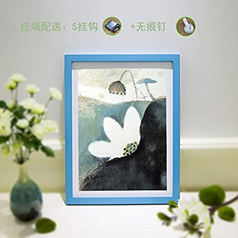 Madera maciza cuadro Certificado de bastidor grande carteles creativos cuadro cuadros de verificación ,20 pulgadas 40,4*50,4cm, azul