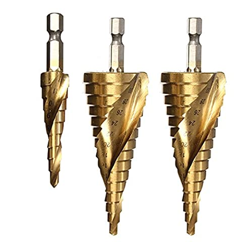 NUZAMAS 3 Pieces HSS High Speed Steel Step Drill Bits Set Spiral Metric Hex Shaft Drives Titanium Coating Hole Drilling 4-12mm 4-20mm