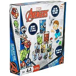 Sambro AVE4-7880 Juego de Lanzamiento con latas para Interior y Exterior, Marvel Avengers, con 10 bolsitas de Chapa y 3 bolsitas de bolsitas