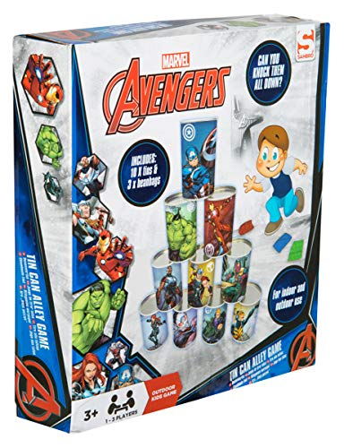 e27f82a13f56 Avengers Children Alley Indoor and Outdoor | 10 Tin Cans and 3 Bean Bags  Included | Fun Family Garden Game for Kids with Captain Marvel, Hulk and  Iron ...
