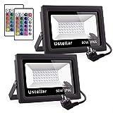 2 Packs Ustellar 60W Foco LED RGB, Proyector LED 16 Colores, 4 Modos de Luz, Con Control Remoto, Impermeable IP66 Para Exterior, Decoración de Jardín, Navidad