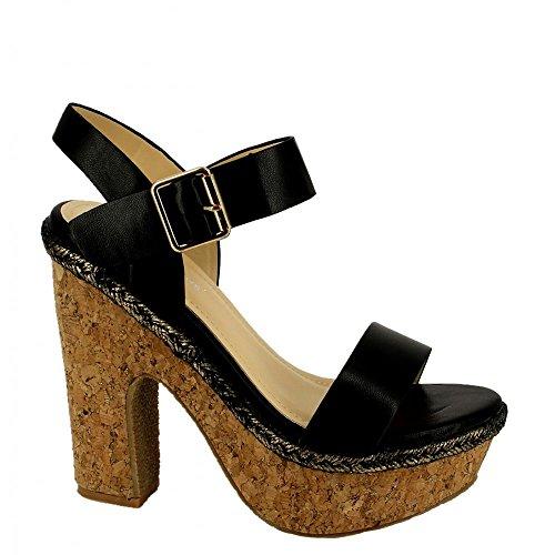 Ideal Shoes Sandales à Plateforme Nacrées Hermione Noir