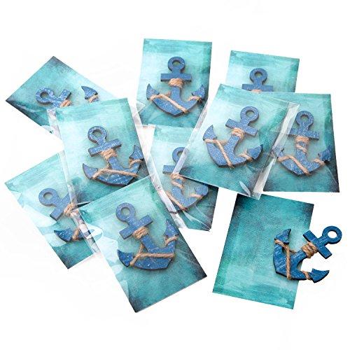 20 Stück kleine blaue Anker Gastgeschenke Mitgebsel oder give-away maritim mit türkiser Karte in Folie fertig verpackt als Tischdeko zum Mitnehmen...