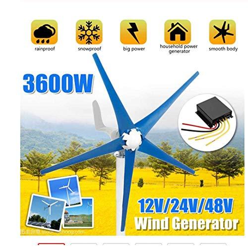 SISHUINIANHUA 3600W 12/24 / 48V Generatore di Corrente Permanente a Corrente alternata a 5 Pale con generatore a turbina eolica a 5 Pale per Uso Domestico, lampione, Uso Barca,24v