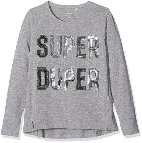 NAME IT Nitisla Ls Top Nmt, Camisa Manga Larga para Niñas, Gris (Grey Melange), 134 (Talla del Fabricante: 134-140)
