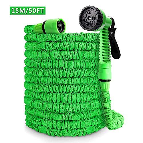 Ohuhu Flexibler Gartenschlauch, 15m/50ft Ausziehbarer Schlauch mit 8-Phasen-Düse, Flexibler Gartenschlauch ausgedehnt, Wasserschlauch Flexibel, Bewässerung Gartenarbeit Autowäsche Grün