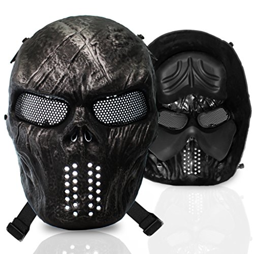 stargoods Skelett Softair Maske – Metall Mesh Paintball, Bb Gun, & CS Spiele, Black (Predator Kostüm Beste)