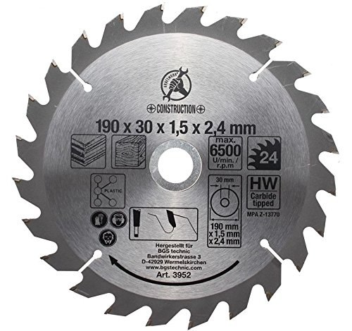 Preisvergleich Produktbild Kraftmann Hartmetall Kreissägeblatt, Durchmesser 190 mm, 24 Zähne, 3952
