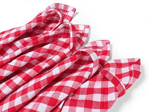 FILU Geschirrhandtücher 4er-Pack, Rot / Weiß (Farbe wählbar) aus 100 % Baumwolle, 50 x 70 cm Küchenhandtuch / Geschirrhandtuch, elegant kariert mit 1 x 1 cm Karo und hochwertig durchgefärbt im skandinavischen Landhaus-Stil