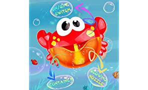 Addmos Bath Toys, Baby Bath Bubble Toys, Auto Crab Kids Bath Bubble Machine Bubble Blower with 12 Musics Fun Shower Toys