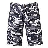 KPILP Herren Cargo Shorts Kurze Hosen Camo Bermuda Bundhose Sweatshorts Hose Jogginghose mit Verschließbaren Eingriffstaschen Regular Fit(Grau,38