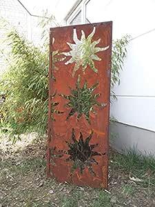 Zen Man ruggine Giardino frangivista in Metallo 1 mm ruggine Recinzione Giardino Decorazione ruggine Protezione della Privacy H125 x 50 cm 031912