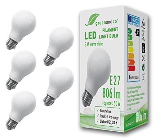 greenandco 5x Ampoule à Filament LED dépolie E27 6W (équivalent 60W) 806lm 2700K (blanc chaud) 360° 230V AC Verre