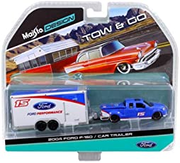 2004 Ford F-150 Pickup Truck #15 Blue and Car Trailer Tow & Go 1/64 by Maisto 15368-J