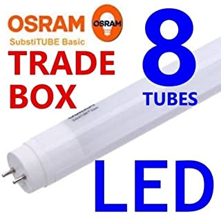 Trade Pack 8x Osram Branded 6ft 180cm 28w = 70w T8 G13 Socket LED Tube Fluorescent Light Cool White Lamp Retro Fit Replacement 1800mm 180cm 4000k 840 1.5m High Efficiency Long Life