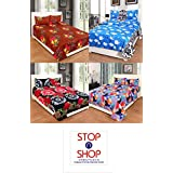 Stop N Shopp Super Home Combo Set Of 4 Grace Cotton King Size Double Bedsheet With 8 Pillow Covers