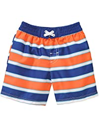 44ab52256d676 OP Little Toddler Boys Orange Blue Striped Swim Shorts Trunks (0-3 Months)