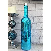 Homes on Trend Bottle Light Mercury Glass Wine Style Bottles with Built in Battery Operated LED White Fairy Lights Bedroom Party Decor Wedding Summer BBQ Picnic Garden Table Lighting Decoration - Blue