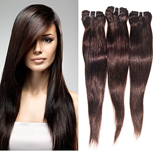 STRAIGHT Brazilian 3 Bundle Pack DEAL with 50% OFF LACE CLOSURE Virgin Hair Weave Extension Weft Track 100 Human Hair GUARANTEED or Dark Brown #2 Color -161820 by eCowboy