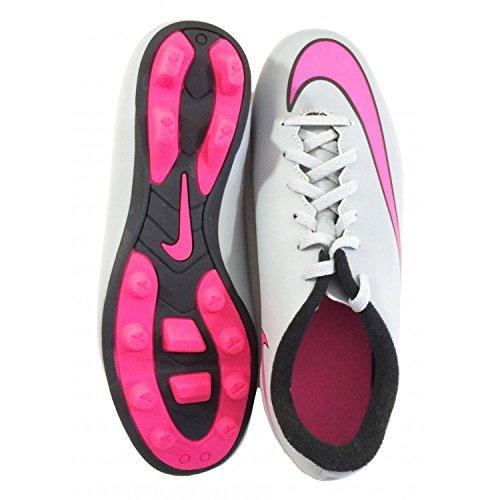 Nike  Jr Mercurial Vortex II Fg-R, Chaussures de foot pour garçon - Multicolore Multicolore - Wolf Grey/Hyper Pink-Black-Blk