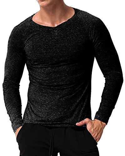MODCHOK Herren V-Ausschnitt Langarmshirt Longsleeve T-Shirt Langärmelig Shirt Schwarz