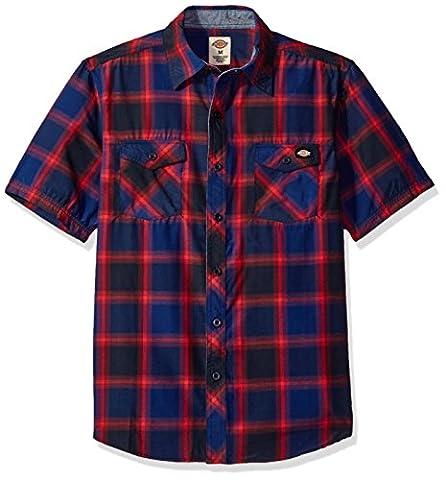 Dickies Men's Regular Fit Short Sleeve Fashion Pocket Plaid Shirt, Dark Navy/Cardinal, L