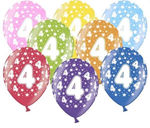 Libetui 10 kunterbunte Luftballons Metallic 30cm Deko zum 4.Geburtstag Party Kindergeburtstag Happy Birthday Dekoration (Zahl 4)