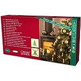 Konstsmide 1004-010 LED Baumkette mit weiße Topbirnen / für Innen (IP20) /  24V Innentrafo / One String / mit Schalter / 25 warm weiße Dioden / grünes Kabel