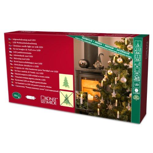 Konstsmide 1004-010 - Guirnalda de velas LED para árbol de navidad (25 diodos de blanco cálido, transformador interno de 24 V, 5 W)
