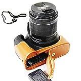 First2savvv Custodia Fondina in pelle sintetica per macchine fotografiche reflex compatibile con Canon EOS 1300D marrone + Corda Anti-perso XJD-1300D-D09G14