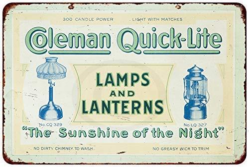 qidushop Coleman Lampen & Laterne, schnell beleuchtet, Reproduktion, Metallschild für Zuhause, Wanddekoration, Postplakette für Damen und Herren, 30 x 45 cm -